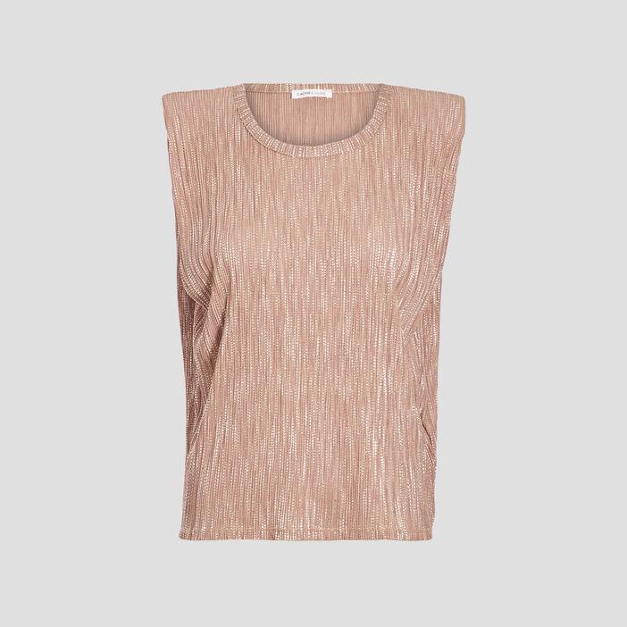 T-shirt manches courtes beige femme