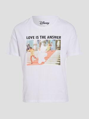 T shirt manches courtes Disney ecru femme