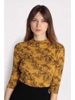 T shirt manches 34 cotele jaune fluo femme