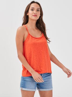 Debardeur bretelles fines orange femme
