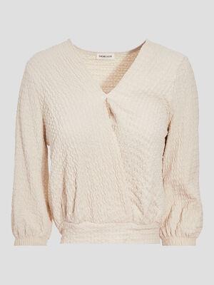 T shirt manches 34 sable femme
