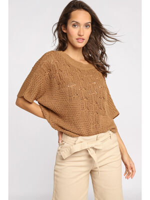Pull manches courtes ajoure beige femme