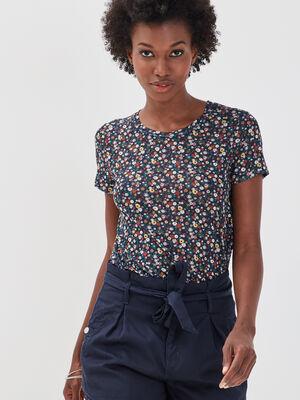 T shirt manches courtes smocke bleu marine femme