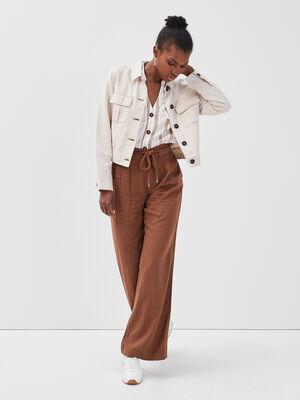 Pantalon fluide lin marron femme