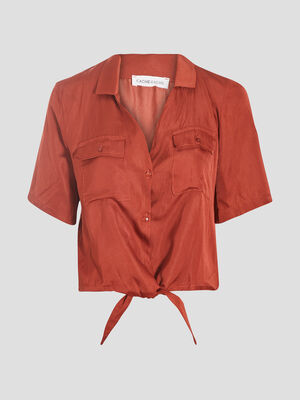 Chemise manches courtes terracotta femme