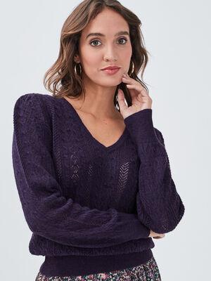 Pull ajoure avec col en V violet fonce femme