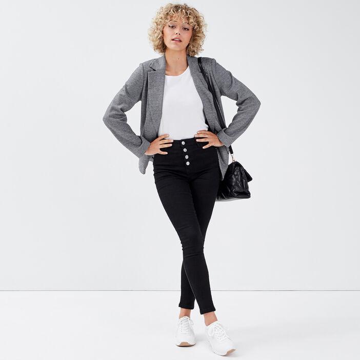 Jeans skinny boutonné denim noir femme