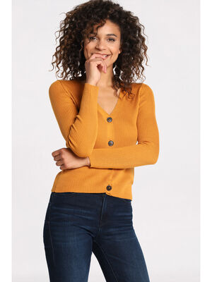 Gilet manches longues boutonne jaune moutarde femme