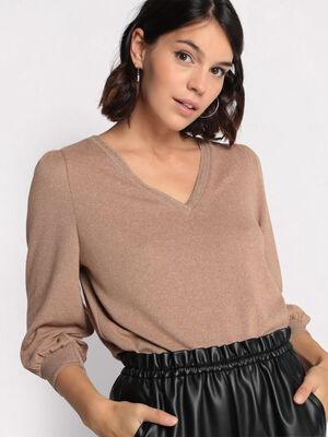 T shirt manches 34 marron clair femme