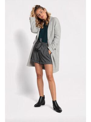 Manteau droit boutonne gris clair femme