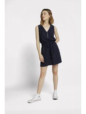 Robe courte droite col en V bleu marine femme