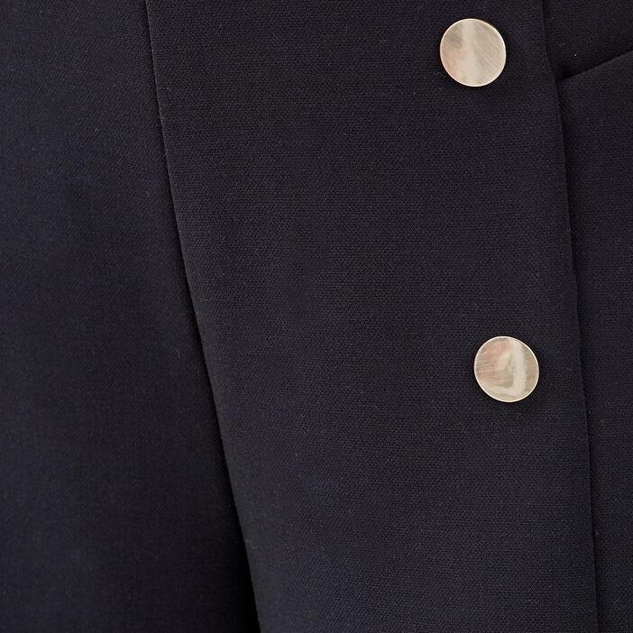 Short droit avec boutons noir femme