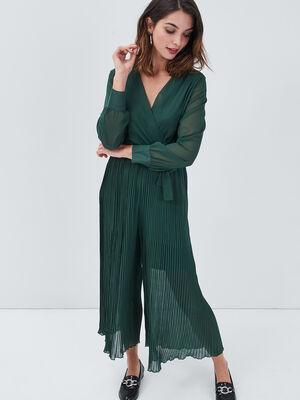 Combinaison pantalon fluide vert fonce femme