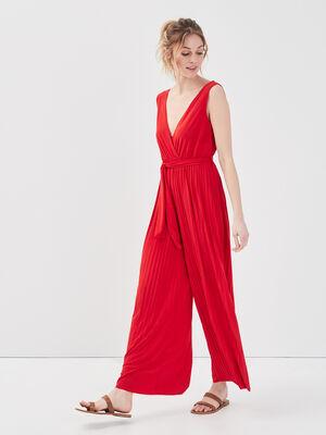 Combinaison pantalon fluide rouge corail femme