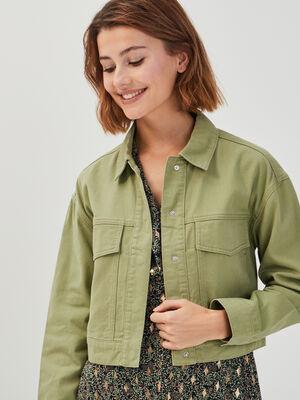 Veste droite avec rabats vert kaki femme