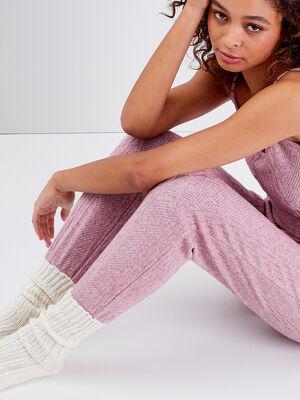 Pantalon droit vieux rose femme