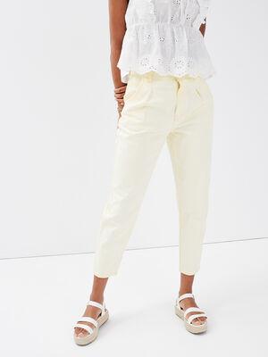 Pantalon mom taille haute jaune pastel femme