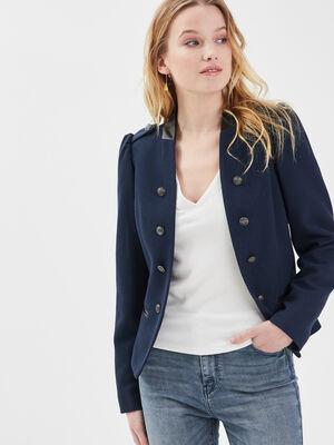 Veste ajustee avec boutons bleu marine femme