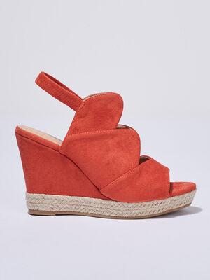 Sandales a talons compenses orange femme