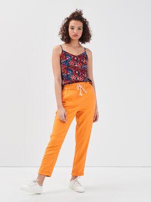 Pantalon carotte lin orange femme