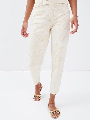 Pantalon mom taille haute creme femme