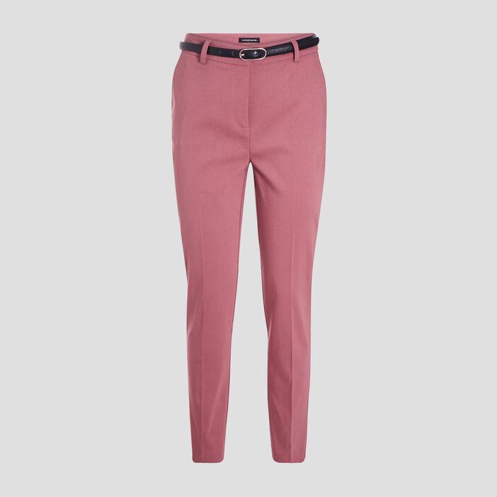 Pantalon cigarette ceinturé vieux rose femme