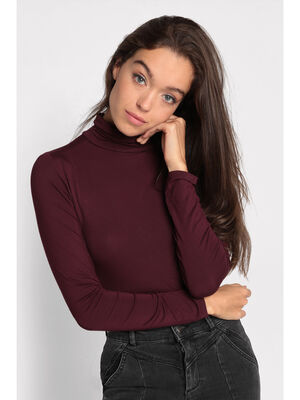 Pull col montant inspiration annees 70 violet fonce femme