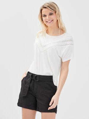 Short ceinture lin noir femme