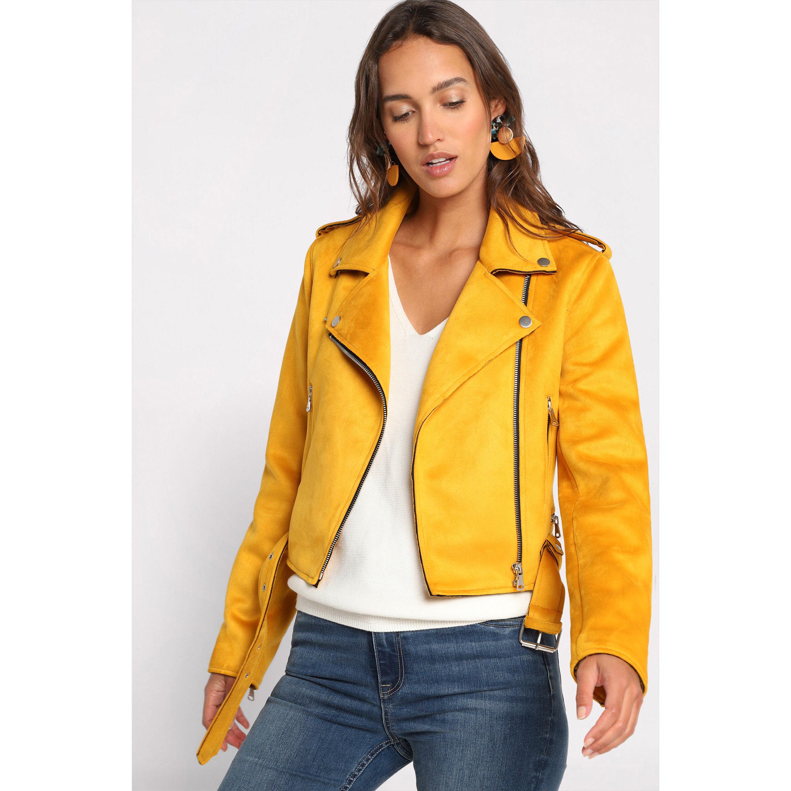 Veste motard femme moutarde