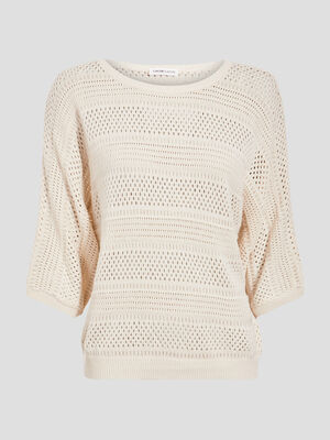 Pull manches 34 ajoure sable femme