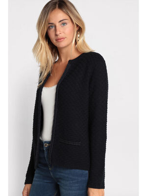 Gilet droit tricote bleu marine femme