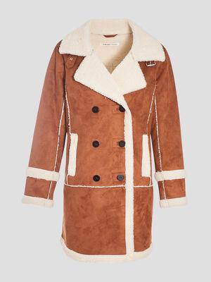 Manteau droit double camel femme