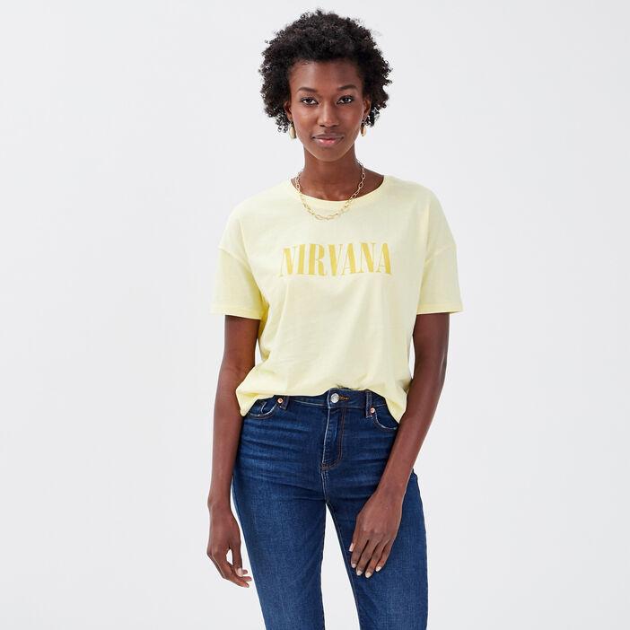 T-shirt Nirvana jaune clair femme