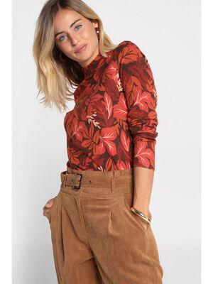 T shirt manches longues marron fonce femme