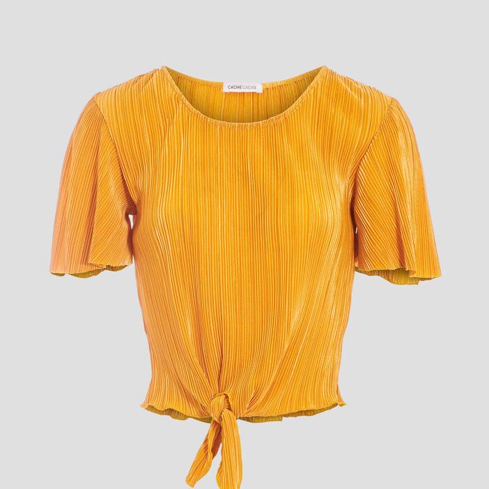 T-shirt manches courtes plissé jaune foncé femme