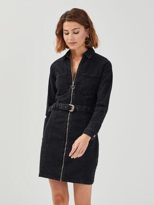Robe droite ceinturee en jean denim noir femme