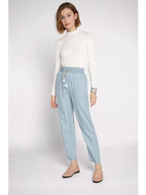 Pantalon fluide taille haute denim bleach femme