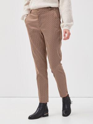 Pantalon cigarette marron femme