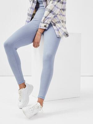 Leggings taille haute bleu gris femme