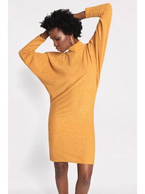 Robe courte droite maille jaune moutarde femme