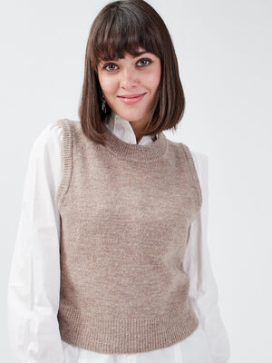 Pull sans manches taupe femme