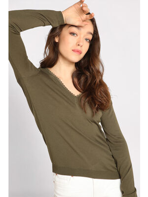 Pull manches longues dentelle vert kaki femme