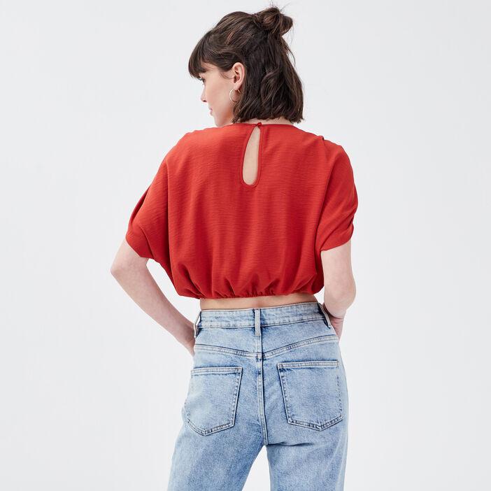 Blouse manches courtes rouge foncé femme