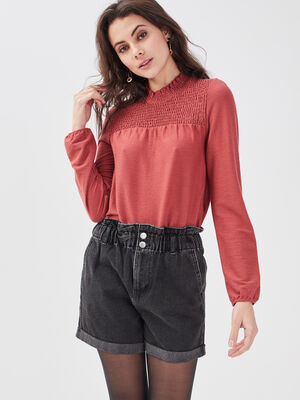 Short ample elastique en jean denim noir femme