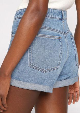 Short mom en jean denim double stone femme