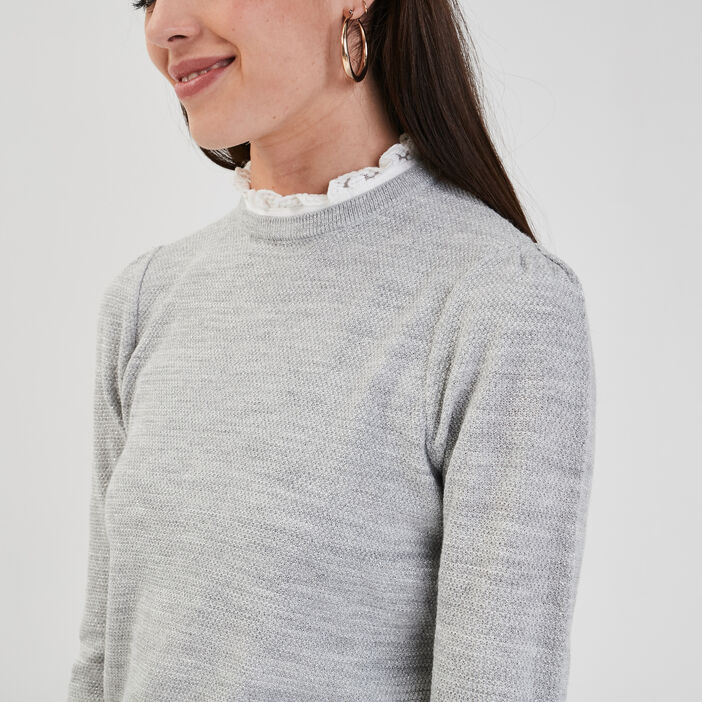 Pull avec col dentelle gris clair femme