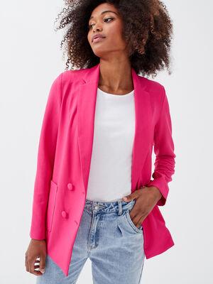 Veste esprit blazer droit rose fushia femme