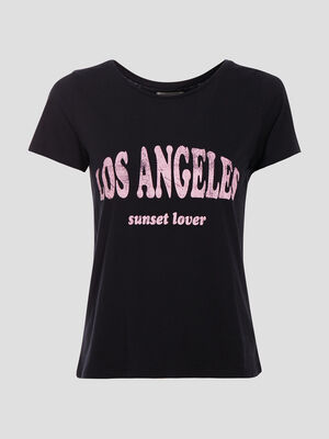 T shirt ajuste a message noir femme