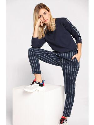 Pantalon city elastique bleu marine femme