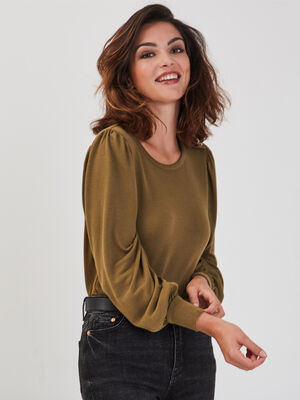 T shirt manches longues vert olive femme